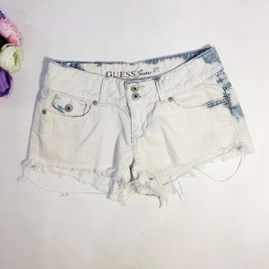 Guess white blue mini jean shorts size 27